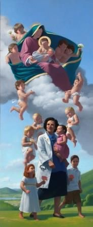 painting of St. Gianna holding children surrounded by babies in heaven