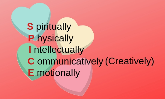 Spiritually, Physically, Intellectually, Communicatively (Creatively), Emotionally